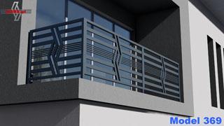nowoczesna balustrada balkonowa o suptelnym zagęszczeniu poziomych profili