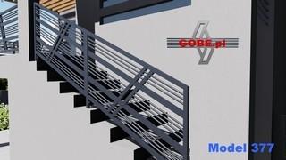 barierka schodowa z ukośnym wzorem i profilami stalowymi