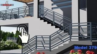nowoczesna balustrada metalowa na schodach i na spoczynku modułowa