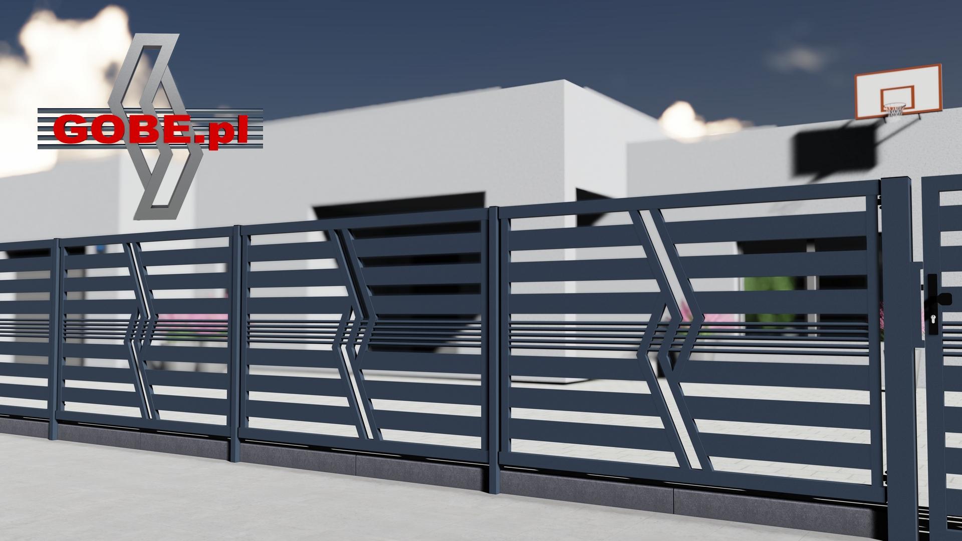nowoczesne ogrodzenie furtka i brama przesuwna ukośny motyw w modelu