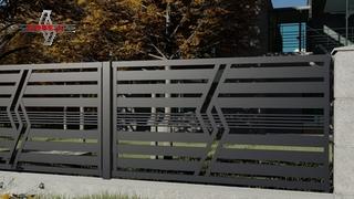 nowoczesne ogrodzenie jako płot mocowany na słupkach stalowych