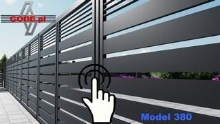 metalowe nowoczesne ogrodzenie w słupkach a wypełnienie to poziome panele z profili zamkniętych