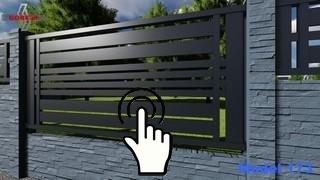 nowoczesne ogrodzenie panel poziomo między słupkami z betonu