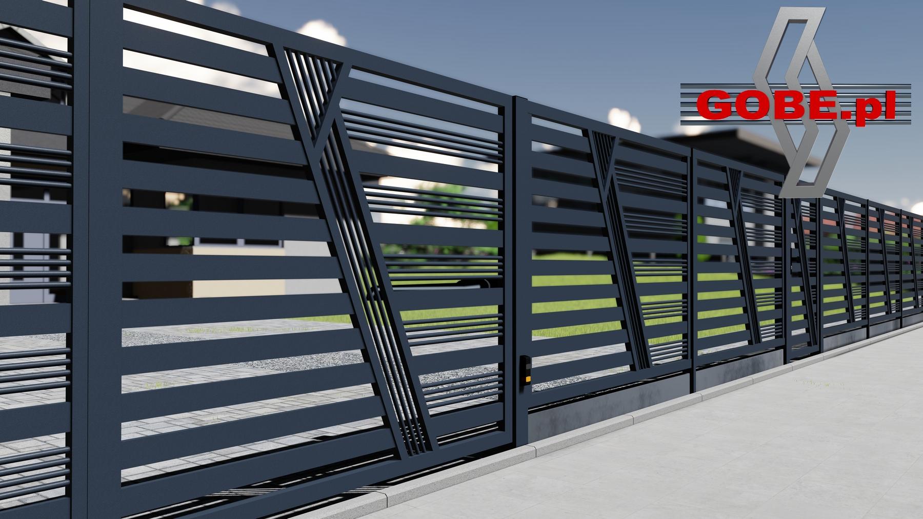 nowoczesne ogrodzenia z bramą metalową przesuwaną ze skośnymi trzema panelami