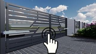 nowoczesna brama dwuskrzydłowa automatyczna na słupkach stalowych