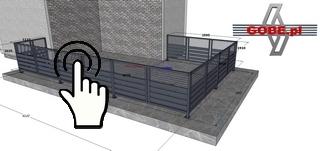 szkic balustrady tarasowej nad garażem z trzech stron