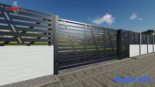 nowoczesna brama przesuwana trzy segmenty w bardzo oryginalnym modelu ocynkowana kolor grafit antracyt