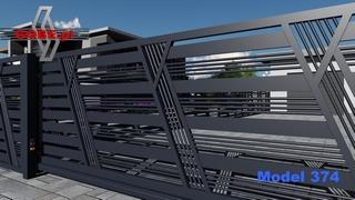 przesuwana brama z motywem między stalowymi słupkami