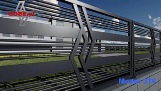 ogrodzenie budynku basenu panelami metalowymi z super wzorem