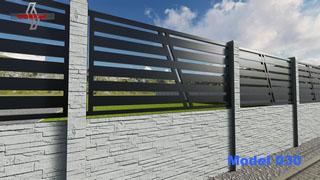 przęsło metalowe nowoczesne ogrodzenia mocowane na płytach betonowych o atrakcyjnym wyglądzie w kolorze antracyt