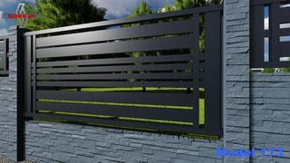 przęsło ogrodzenia nowoczesnego wpasowane nad płytą betonową panele poziome szerokie środkiem cztery waskie