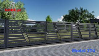 wysokie ogrodzenie panelowe na słupkach stalowych z bardzo ciekawym motywem